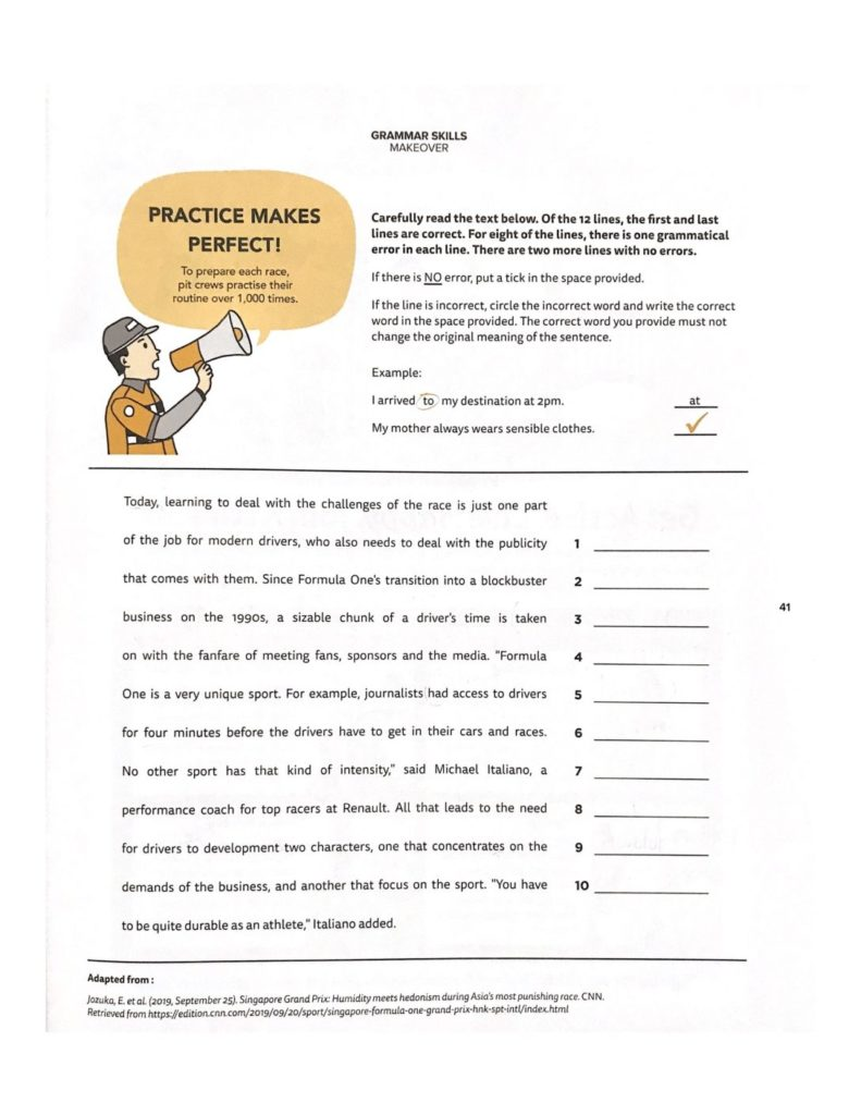 exercise worksheet for Editing through clue-finding