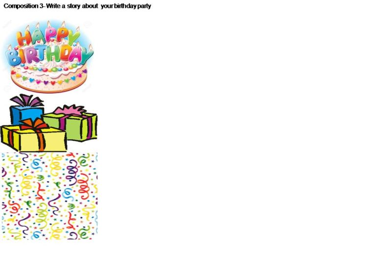 Illustration to practice the writing of a story about your birthday party for primary 3 students in Singapore