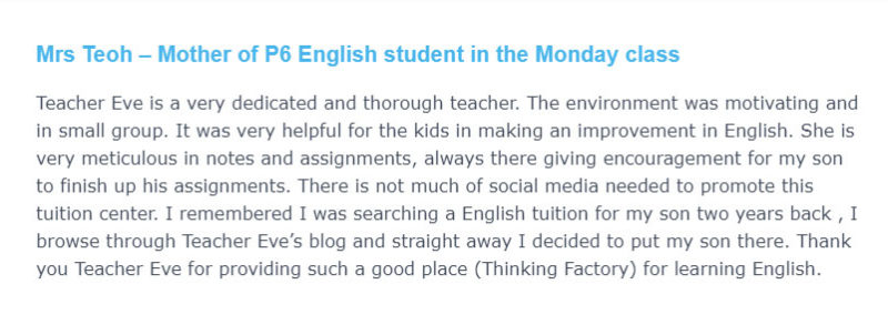 Mrs Teoh Mother of P6 English student in the Monday class e1630141441748