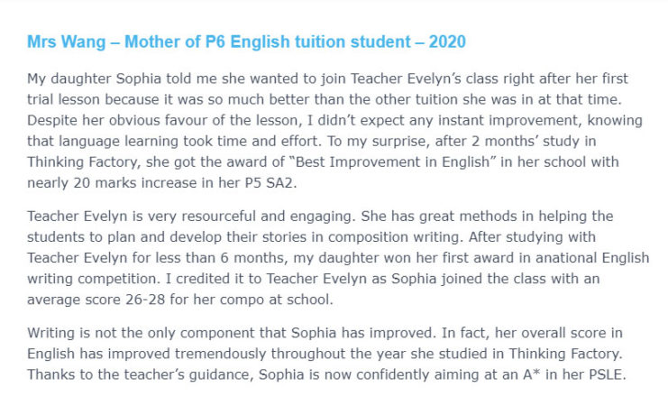 Mrs Wang Mother of P6 English tuition student – 2020 e1630141460521
