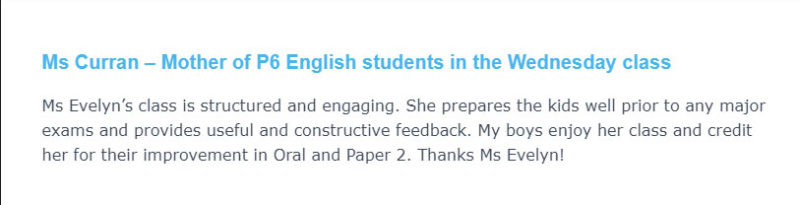 Ms Curran Mother of P6 English students in the Wednesday class