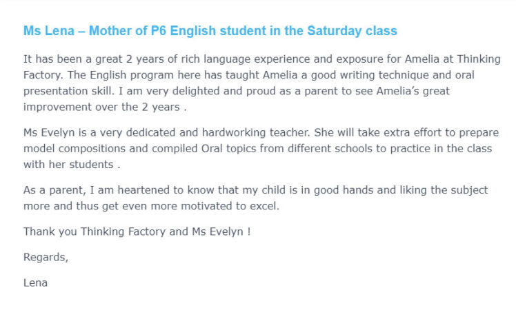 Ms Lena Mother of P6 English student in the Saturday class e1630141390320