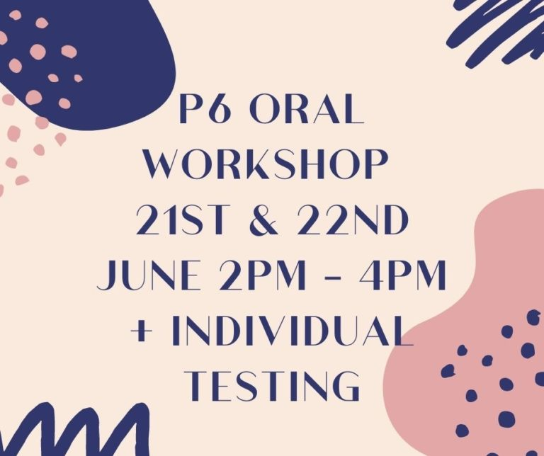 Schedule of PSLE Oral Workshop